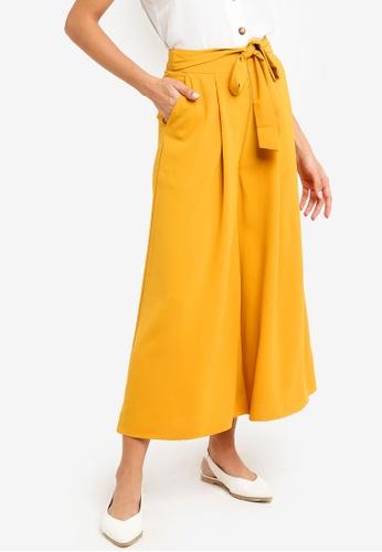 ZALORA yellow Wide Leg Palazzo with Tie 15912AA318BF1DGS_1
