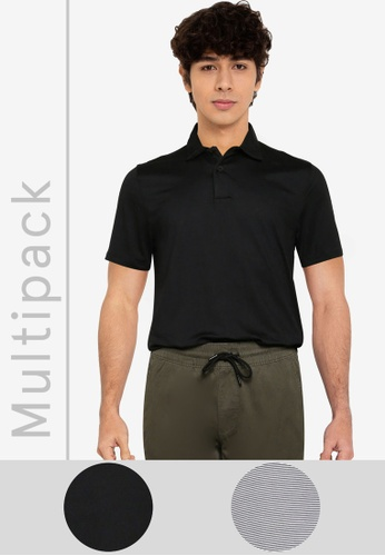 Abercrombie & Fitch black and multi 2-Pack Webex Air Knit Polo Shirt F12FEAAC67445BGS_1