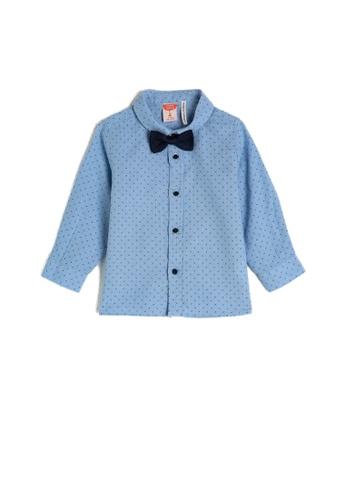 KOTON blue Bow Tie Shirt 473A4KAD3A5F33GS_1