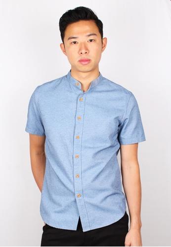 Moley blue Classic Mandarin Collar Short Sleeve Shirt 2671AAA66705FEGS_1
