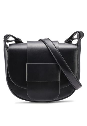 Velvet black Small Flapfront Sling Bag D68AAAC6454317GS_1