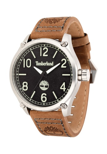 Timberland brown Leighton TBL.14852JS/02 Dark Brown Leather Strap Men Watch 1D08DAC7492A9BGS_1