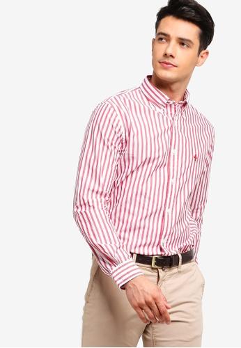 Brooks Brothers 紅色 鈕釦條紋襯衫 C622BAAA0B87CCGS_1