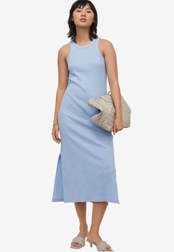 H&M blue Ribbed Vest Dress 2B171AA2624A54GS_1