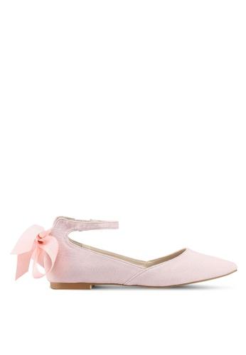 Velvet 粉紅色 緞帶繞踝麂皮平底鞋 ABB9DSHFEB5735GS_1