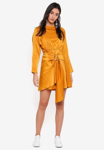 GHOSPELL yellow Forbidden Belted Dress 4C7CEAAF259399GS_1