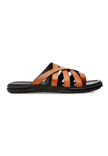Projet1826 褐色 ANSON ROUND TOE LEATHER SANDALS BROWN B3035SHE38687AGS_1