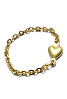 Stainless Steel Dainty Heart Soft Chain Ring