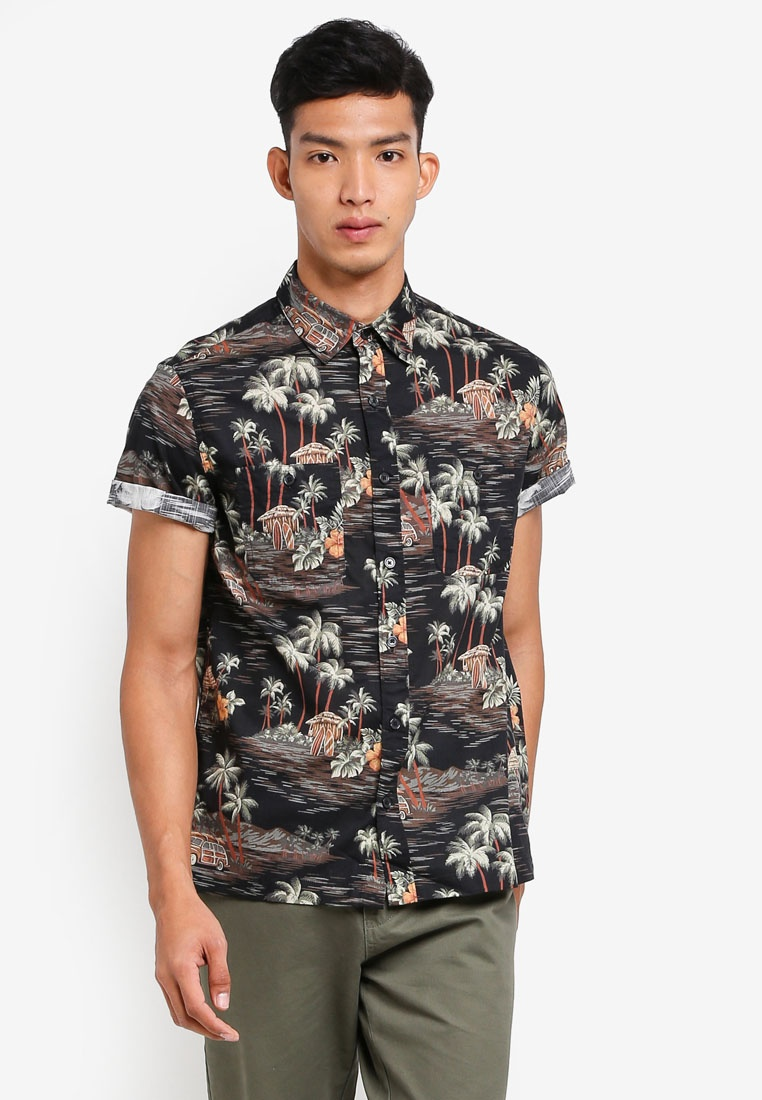 Shirt Cotton Crew Dark Slub J Short Multi Sleeve Print In Black Tropical OSn6qt1qx