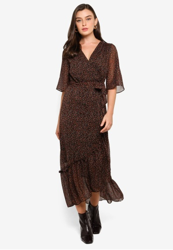 FORCAST multi and brown Bella Wrap Dress B65C9AA667CC45GS_1