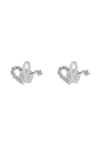 Agnes B 銀色 Iconic Heart B. Diamante Stud Earrings C76B5ACB7F2130GS_1