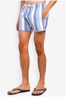b56f5d09f8 Tonal Blue And Orange Stripe Swim Shorts A286AUS4BAF7FAGS 1 Topman ...
