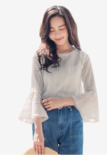 YOCO white Laced Blouse with Frill Sleeves 28838AABCFAFC6GS_1