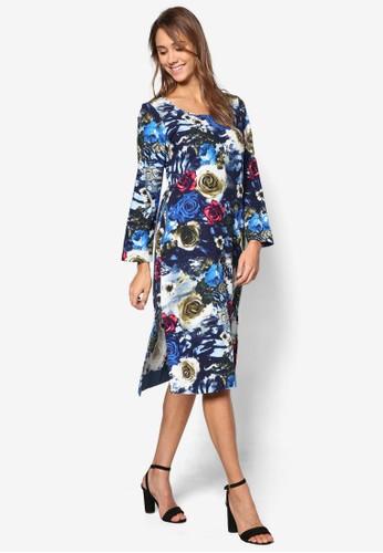 花卉印花長袖連身裙, 服esprit專櫃飾, 洋裝