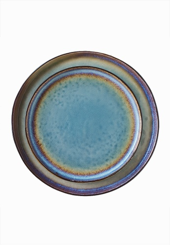 Your Lagom blue and turquoise Turquoise Sunset Ceramic Plate Set of 2 35119HLF40D342GS_1