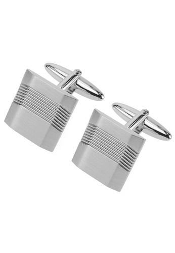 CUFF IT silver Angled Brush Rhodium Metal Cufflinks CU047AC28IFVHK_1
