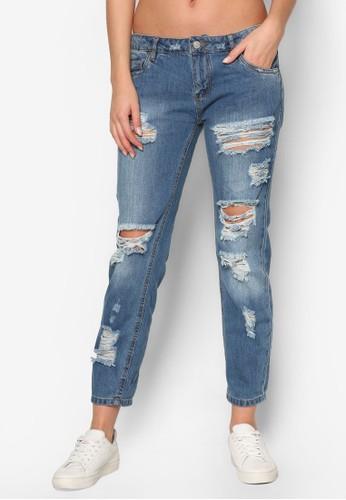 女版刷破牛仔褲、 服飾、 服飾Factorie女版刷破牛仔褲最新折價