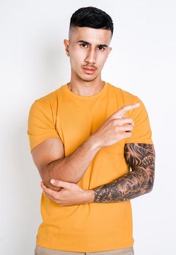 Larusso yellow LARUSSO Tshirt Premium Pocket Tee Mustard 9124FAA1751BD1GS_1