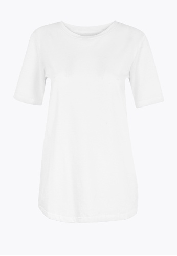 MARKS & SPENCER white M&S Pure Cotton Straight Fit T-Shirt E5054AA637FCCDGS_1