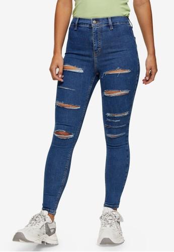 TOPSHOP blue PETITE Mid Stone Ripped Joni Skinny Jeans DD216AA213EBC0GS_1