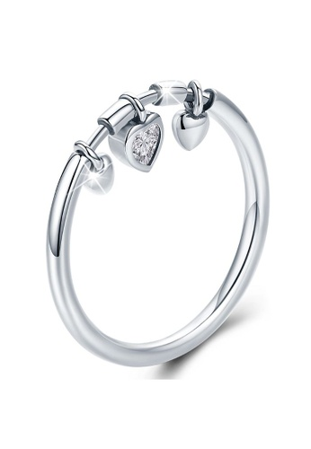 925 Signature 925 SIGNATURE Solid 925 Sterling Silver Love Craze Heart Charm Ring 12CABAC94DBF8AGS_1