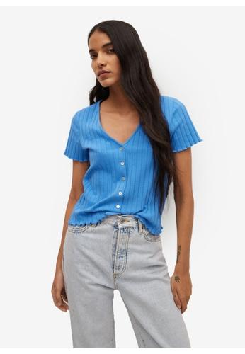 Mango blue Buttoned Ribbed T-Shirt 90A8CAA76CC2D7GS_1