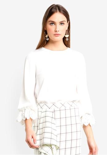 bYSI white Crochet Lace Cuff Detail Top 2A99DAA2D9C743GS_1
