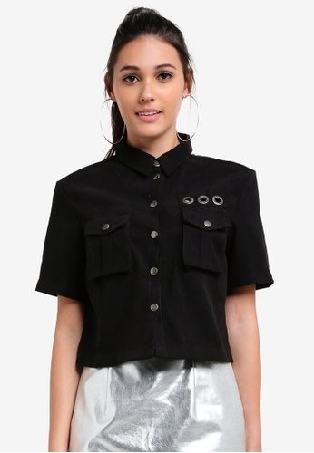 Something Borrowed black Eyelet Detail Boxy Shirt 71C03AA225CA90GS_1
