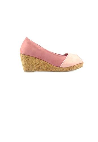 SHINE pink Peep Toe Velvet Wedges 9DE85SHA958D1EGS_1