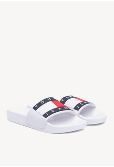 a26b2bbb7721 Tommy Hilfiger white Tommy Jeans Flag Pool Slide F132DSHA7C4E9BGS 1