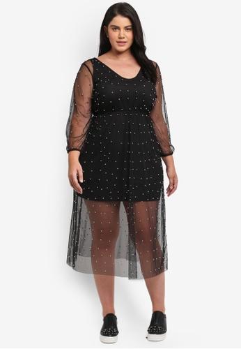 Shop Elvi Plus Size Mesh Beaded Dress Online On Zalora Philippines