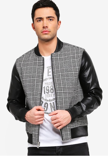 6a3b6251a Houndstooth Panel Bomber Jacket