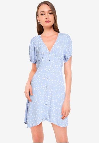 Cotton On blue Woven Essential Button Front Mini Dress AEFF6AADD0866BGS_1