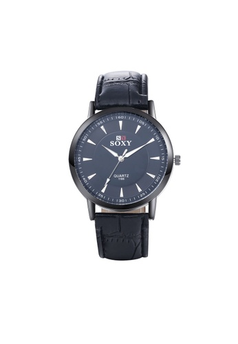Treasure by B & D black WH0038A Simple Quartz Business Man Watch Stainless Steel Metal Round Dial TR022AC11UOYPH_1