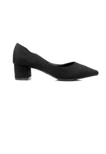 SHINE black SHINE Fabric Point Block Heels FB008SH0A2A096GS_1