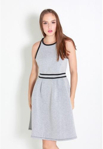 Leline Style grey Kae Basic Skater Dress LE802AA64LOHSG_1