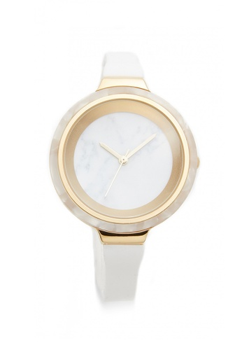 RumbaTime white and gold Rumbatime Orchard Marble Watch Snow Patrol RU023AC80XOTHK_1