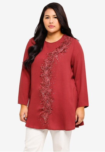 BYN red Plus Size Muslimah Blouse AB473AAE371DE3GS_1