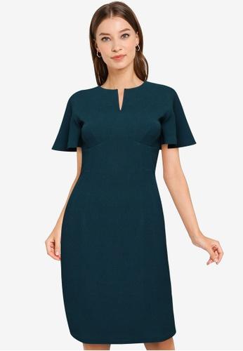 ZALORA WORK green Bell Sleeve Notch Neck Dress B04E4AA2EDC5D5GS_1