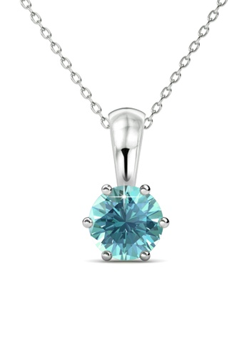 Her Jewellery blue Birth Stone Pendant (December, White Gold) - Made with premium grade crystals from Austria 21406AC4D04025GS_1