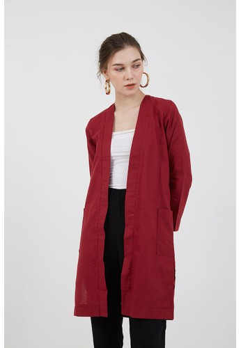 Berrybenka Label red Sophie Hilma Long Outer Maroon 213BCAA4B6D646GS_1