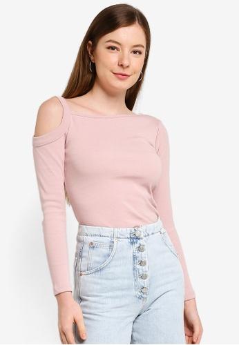 UniqTee pink Open Shoulder Long Sleeve Top 11CE7AA5960992GS_1