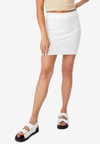 Cotton On white Ultimate Knit Cable Mini Skirt 9C082AAD7DFC17GS_1