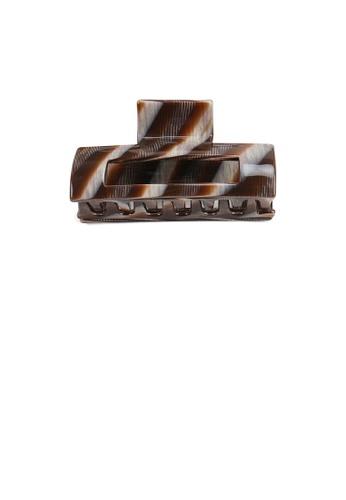 Glamorousky brown Simple Fashion Striped Brown Geometric Hair Claw 22DA0AC31004B7GS_1