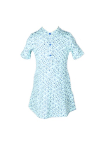 Mini Moley blue Seashell Print Half-Button Down Dress 31A53KAEE23D2AGS_1