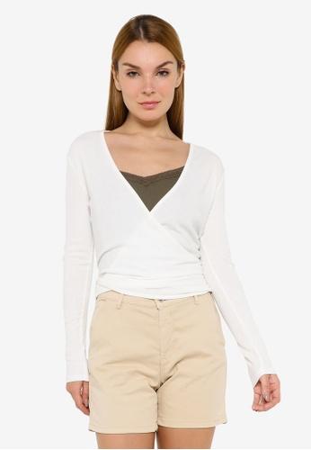 JACQUELINE DE YONG white Ella Long Sleeve Tie Tops A2085AA935E77AGS_1