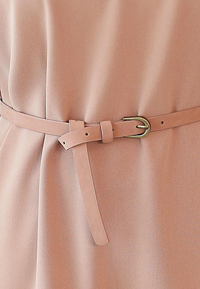 Dress Shift Khaki With Halo Floral Belt S7wq56B