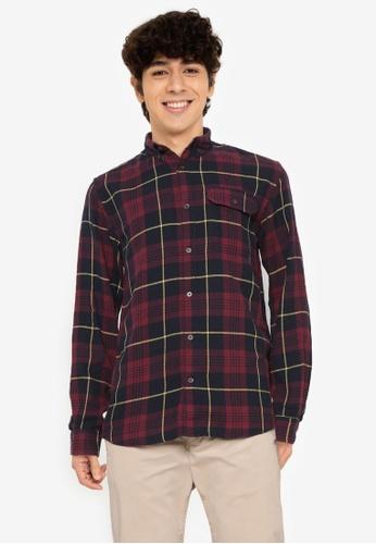 Jack & Jones red Emmerson Long Sleeves Shirt C7BA9AA3F810C8GS_1