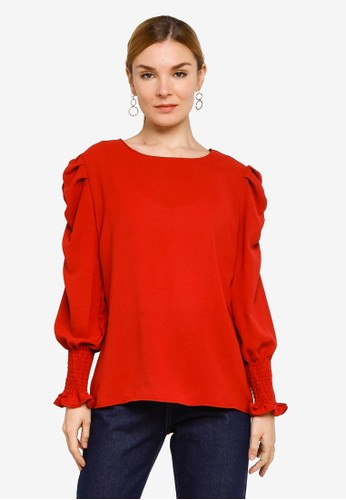 BYN red Muslimah Long Sleeve Top C21F4AAC9311F7GS_1