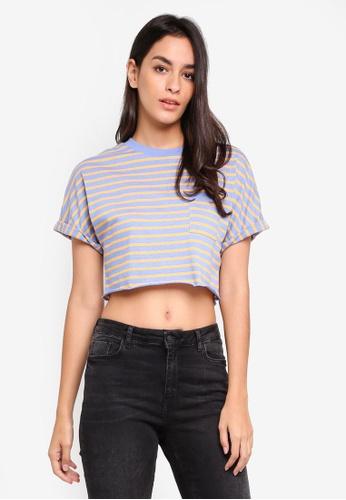 TOPSHOP blue Stripe Cut Off T-Shirt 1EB98AA8DB57B2GS_1